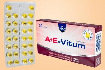 A+E-Vitum, witaminy A+E, 30 kapsułek, Oleofarm, witamina a e, 1 raz dziennie