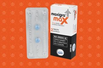 Maxigra Max duża dawka, sildenafil 50 mg, 2 tabletki na erekcję bez recepty
