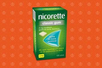 Nicorette classic gum 4 mg 105 sztuk, gumy na rzucenie palenia