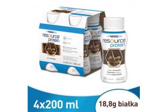Resource Protein, Czekoladowy, 4 butelki po 200 ml, zamiennik nutridrinków