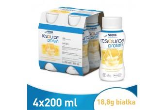 Resource Protein, Smak waniliowy, 200 ml x 4 butelki, odżywcza dieta w płynie z białkiem
