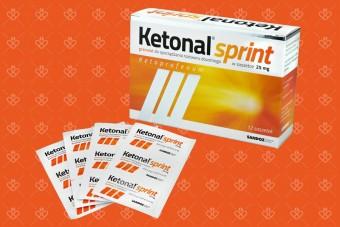 Ketonal Sprint, saszetki przeciwbólowe, 25 mg, lek przeciwbólowy, 20 saszetek