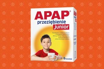Apap Przeziębienie Junior, 6 saszetek dla dzieci na przeziębienie, grypę, gorączkę