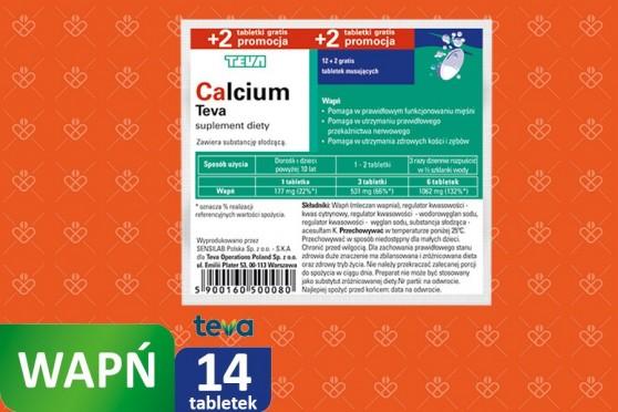 Calcium w folii bezsmakowe, Teva, tabletki musujące
