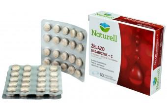 Naturell Żelazo organiczne + C, 60 tabletek do ssania INSTANT, 16 mg żelaza i 40 mg witaminy C w 1 tabletce