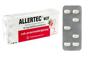 Lek na alergię Allertec, 10 mg, 7 tabletek