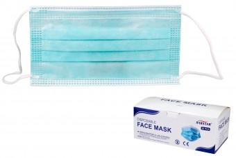 Ochronna maska na twarz do jednorazowego użytku, trójwarstwowa, z elastycznymi wiązaniami na uszy, opakowanie 50 sztuk