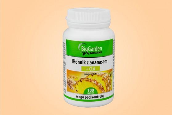 Błonnik z ananasem + CLA, 100 tabletek, Biggarden