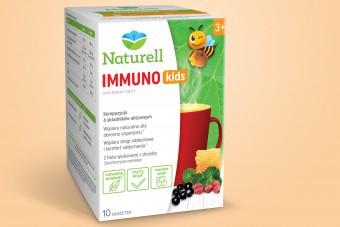 Naturell Immuno Kids, saszetki na odporność, dla dzieci od 3. roku życia, skład - pelargonia afrykańska, czarny bez