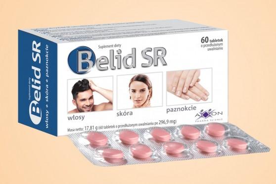 Belid SR, 60 tabletek, tabletki na włosy i paznokcie oraz skórę, tabletki z biotyną