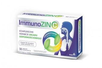 ImmunoZIN C, tabletki na układ oddechowy, gardło i odporność. Pelargonia, owoce czarnego bzu, cynk i witamina C, 30 tabletek