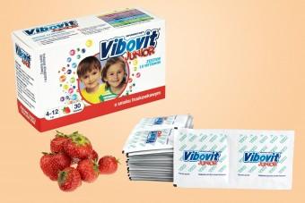 Vibovit Junior o smaku truskawkowym, 30 saszetek, witaminy i minerały dla dzieci od 4 lat, wibovit junior