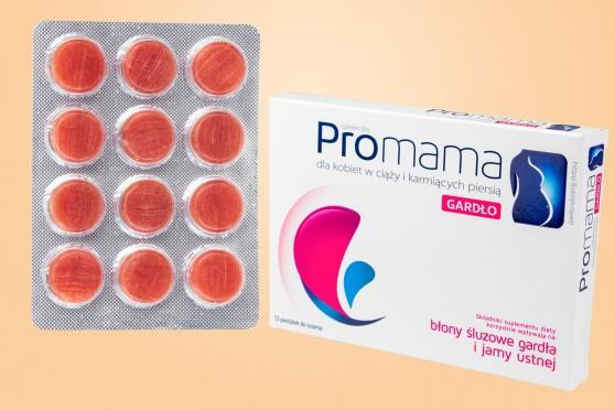 ProMama Gardło, do ssania na gardło dla kobiet w ciąży, 12 pastylek