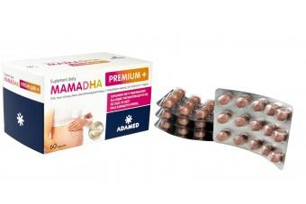 MamaDHA, Premium +, suplement diety dla kobiet w ciąży z DHA i witaminą D3, 60 kapsułek