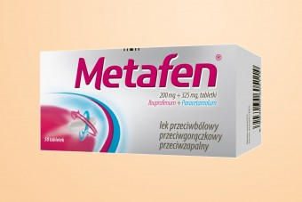 Metafen, 200 mg + 325 mg, na ból i przeciw gorączce, 50 tabletek