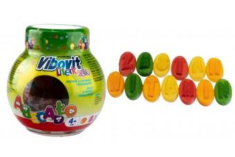 Vibovit żelki dla dzieci literki, witaminy i minerały od czwartego roku życia, 50 sztuk, smak owocowy
