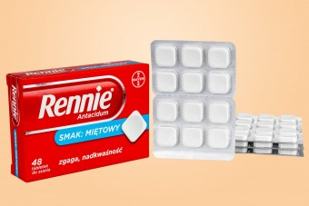 Rennie miętowe, 48 tabletek do ssania, lek na zgagę, na zgagę w ciąży do ssania miętowe
